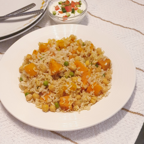 Brown Basmati Rice with Sweet potato and chickpeas
