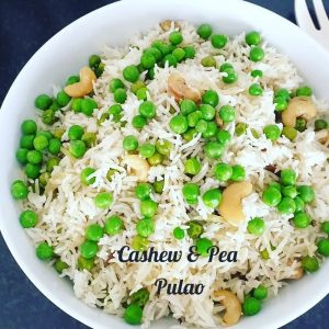 basmati rice with green peas and cashewnuts in a bowl