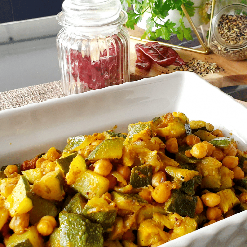 Courgette with chickpea, vegetarian, vegan, plant protein