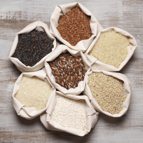 whole grains for prediabetes, Assortment of rice grains, prediabetes, diabetes, healthy grains