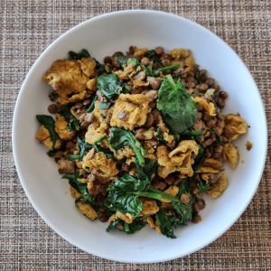 green lentils with spinach and eggs, protein diet, fibre food, vegetarian protein, lentil dal,