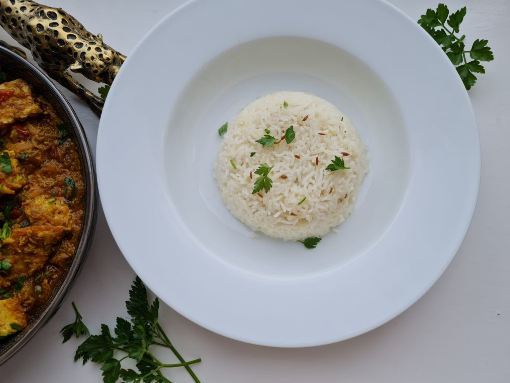 Cumin rice with curry