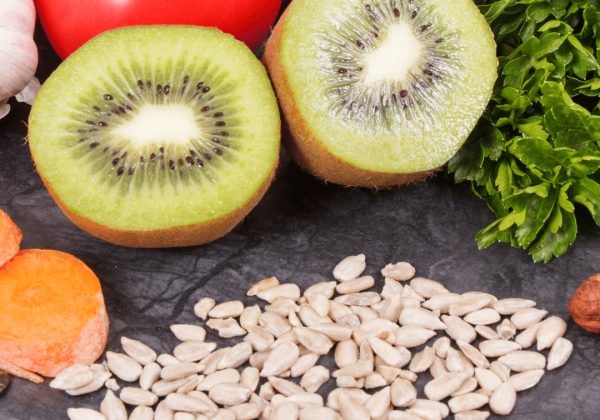 gout food, healthy eating, nuts, seeds, kiwi, pepper, tomato