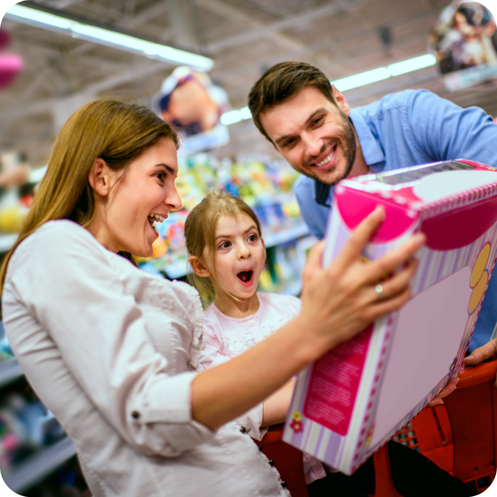 family shopping. buying gift for kids, toy shopping
