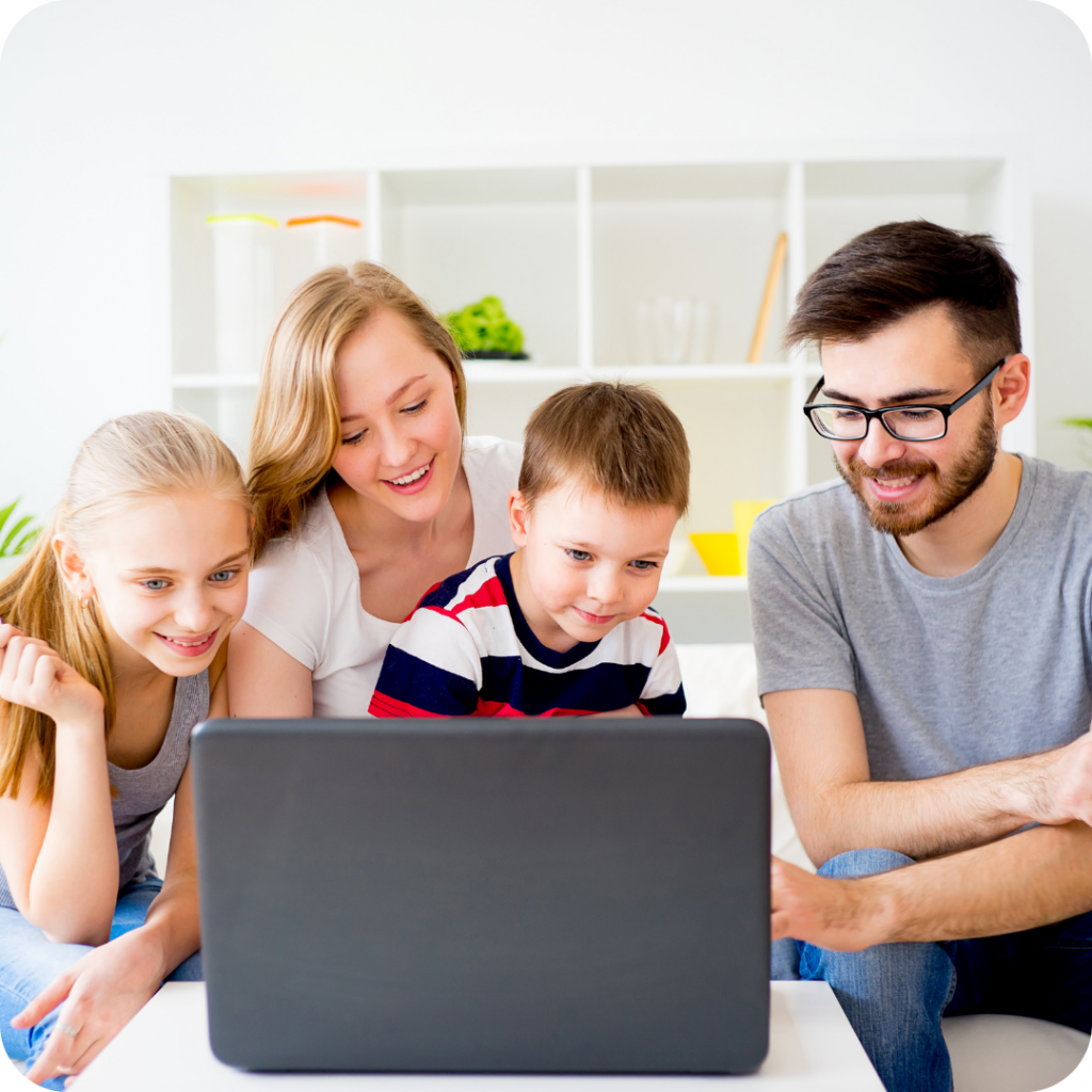 mun dad and kids planning holiday, family shopping online