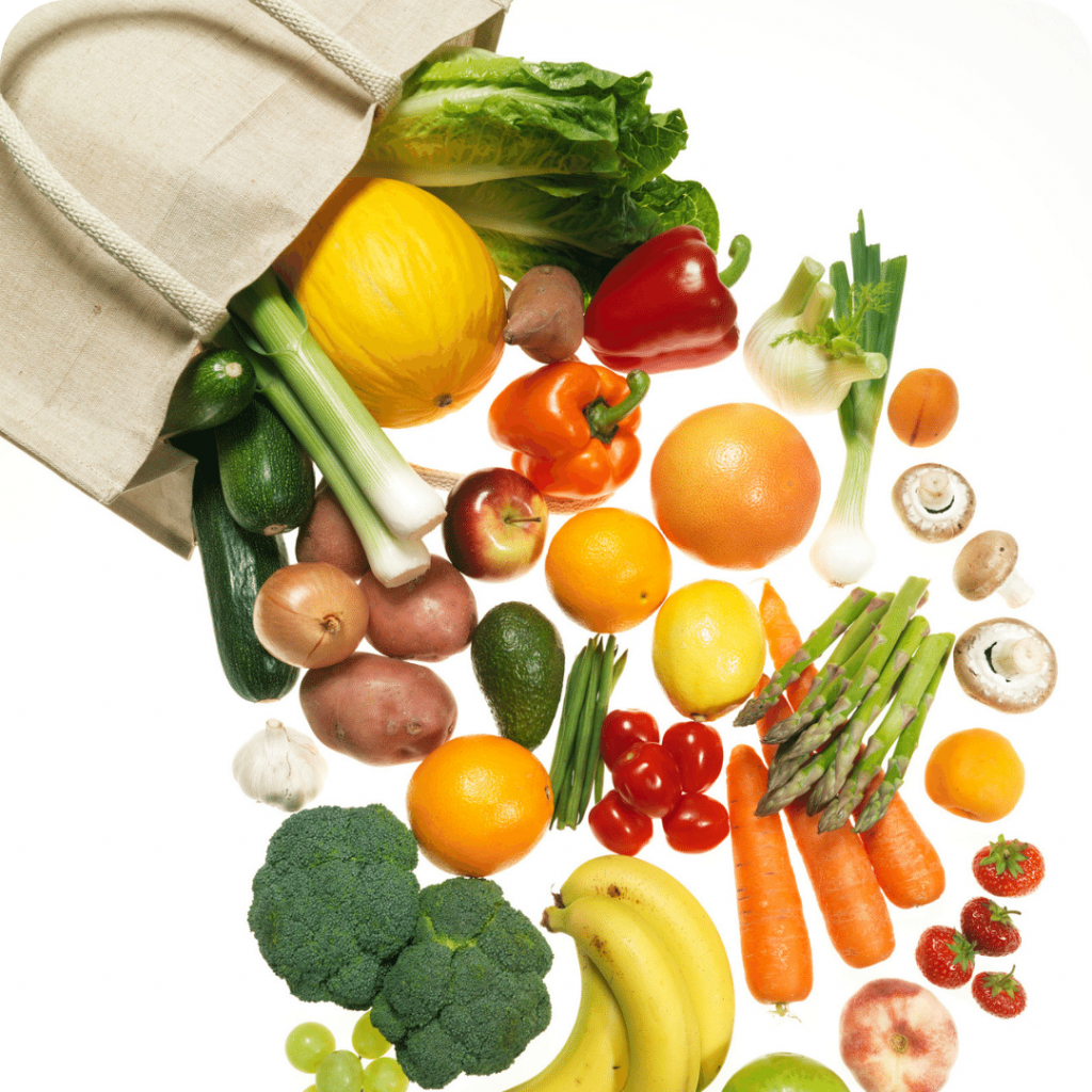 UTI foods, foods during UTI, fruit and veg in a shopping bag